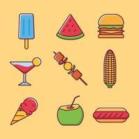 collection d'icônes de nourriture d'été vecteur