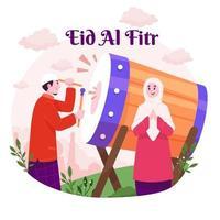 célébration de l'Aïd al-fitr vecteur
