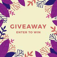 Contexte du giveaway de concours Instagram floral plat vecteur