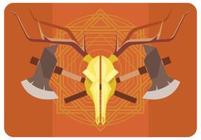 Vecteur de crâne de cerf et des axes