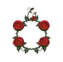 conception de cadre de roses et de vignes vecteur