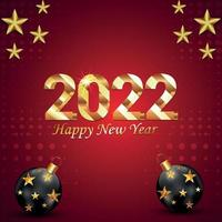 bonne année 2022 carte de voeux invitation avec ballon de fête sur fond rouge vecteur