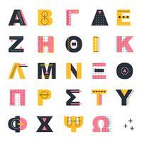 Alphabet grec de style Memphis vecteur