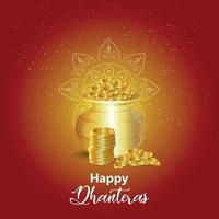 Carte de voeux de célébration de dhanteras heureux avec pot de pièce d'or avec diwali diya sur fond créatif vecteur