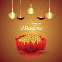 Carte de voeux d'invitation de shubh dhanteras avec pièce d'or vecteur