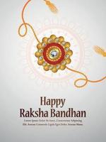Joyeux dépliant d'invitation raksha bandhan avec rakhi créatif sur fond blanc vecteur