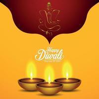 joyeux diwali le festival de la carte de voeux invitation lumière avec lampe à huile diwali vecteur