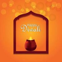 joyeux diwali carte de voeux invitation festival indien avec vecteur créatif rougeoyant diya