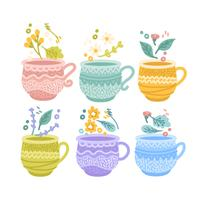 Tasses à thé colorées de vecteur