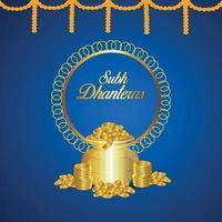 carte de voeux de vente de dhanteras et bannière avec fleur de lotus et pièce d'or avec kalash vecteur