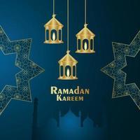 ramadan kareem lune dorée et lanterne dorée vecteur