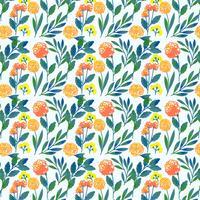 Motif floral dessiné main coloré Vector