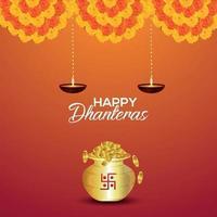 Carte de voeux d'invitation de shubh dhanteras avec pot de pièce d'or de vecteur et fleur de guirlande