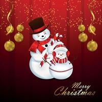 joyeux noël invitation carte de voeux avec des boules de neige vecteur