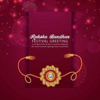 raksha bandhan carte de voeux de célébration du festival indien avec rakhi vecteur