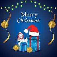 fond de Noël avec fond de décoration réaliste et cadeaux vecteur