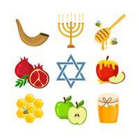 Icônes de Rosh Hashanah vecteur
