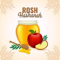 Rosh Hashanah Pomme et miel vecteur