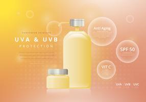 Modèle de publicité de crème solaire ou de Sunblock Skincare vecteur