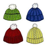 quatre chapeaux en tricot de laine aux couleurs vives. vecteur