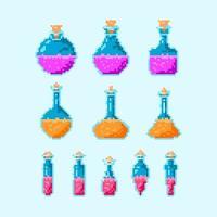 jeu d'icônes de bouteille magique de potion colorée vecteur