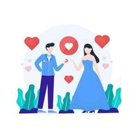 un couple est engagé et se prépare à avoir une illustration vectorielle de mariage, adaptée à la page de destination, à l'interface utilisateur, au site Web, à l'application mobile, à la rédaction, à l'affiche, au dépliant, à l'article et à la bannière vecteur