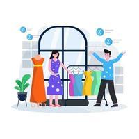 illustration vectorielle plane d & # 39; un magasin de vêtements et une boutique avec des personnes qui achètent des vêtements et des accessoires vecteur