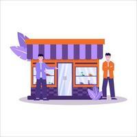 illustration vectorielle plane des magasins de chaussures ont une grande collection de baskets et servent bien les acheteurs vecteur