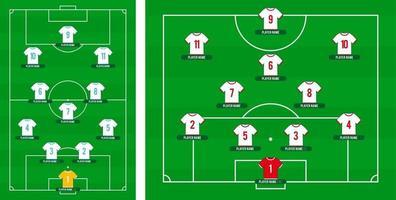 formation d'une équipe de football. terrain de football ou de football avec 11 chemise avec illustration vectorielle de nombres. programmation de football vecteur