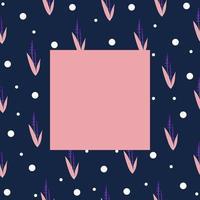 modèle de cadre floral pour photos, affiches et bannières, fleurs de lavande dans les tons roses et violets et pois blancs, style de dessin à la main vecteur