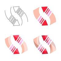 Ensemble de flèches polygonales, plates et contour isolé sur fond blanc vecteur