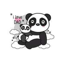 carte de fête des pères avec panda. vecteur