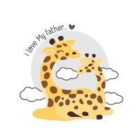 carte de fête des pères avec girafes.girafe père embrassant bébé girafe. vecteur