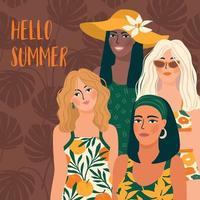 illustration vectorielle de femme en maillot de bain lumineux. jeunes filles avec des couleurs de peau différentes. vecteur