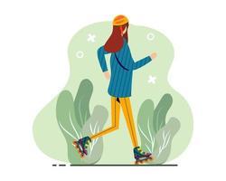 femme jouant avec des patins à roulettes illustration dans un style plat vecteur