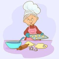 grand-mère avec plateau de cookies vecteur