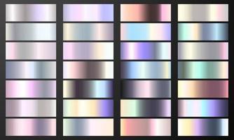 définir le fond de texture de feuille de couleur chrome pastel dégradé coloré. modèle de vecteur en laiton doré, cuivre et métal.