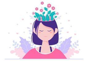 santé mentale due à la psychologie, à la dépression, à la solitude, à la maladie, au développement du cerveau ou au désespoir. psychothérapie et santé mentale. illustration vecteur