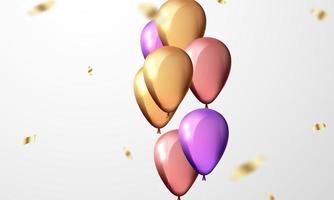 promotion de vacances de modèle de conception de concept de ballons, illustration vectorielle de fond célébration. vecteur