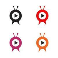 modèle de conception de logo de programme de chaîne de télévision vecteur