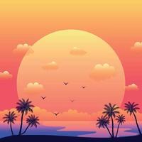 coucher de soleil sur la mer réaliste sur le fond des palmiers - vecteur