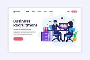 Concept de design de page de destination du concept de recrutement d'entreprise, une femme assise au bureau avec un costume dans un entretien d'embauche. illustration vectorielle vecteur