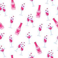 modèle sans couture de bouteilles de champagne et de verres pour le mariage ou la Saint-Valentin. vecteur