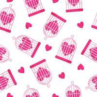 modèle sans couture de cage à oiseaux et coeur pour le mariage ou la Saint-Valentin. vecteur
