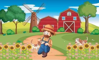paysage rural abstrait avec maison de ferme. vecteur eps 10