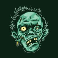 illustration de tête de zombie avec vecteur de boucle d'oreille sur fond isolé