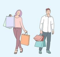 shopping, vente, choix, magasin, concept d'achat. jeune homme femme mari femme copain copine personnages portant un sac à provisions. joie d'acheter des produits en solde, des remises. vecteur