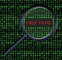 Loupe scannée et trouvé un virus sur fond numérique binaire vecteur