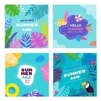 modèles de bannière de médias sociaux de vente d'été sertis de feuilles tropicales, plumeria, monstera, parapluie de sable, toucan, flotteurs de piscine, fond de piscine. vecteur