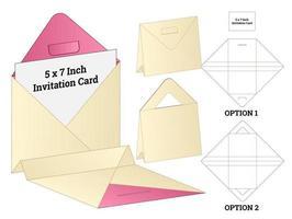 invitation enveloppe emballage die conception de modèle découpé. Maquette 3D vecteur